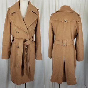 Anne Klein Camel Double Breasted Cashmere Trench 8